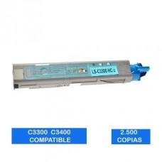 Tóner OKI C3300 C3400 C3500 C3600 43459339 Cyan Compatible