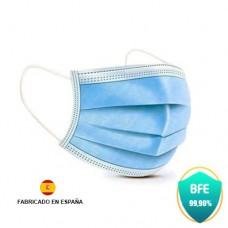 Pack 40 Mascarillas Obligatorias Desechables - Certificado CE - Fabricado en España - 3 Capas - Color Azul